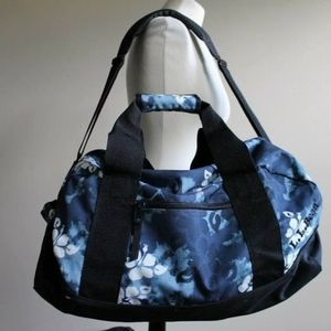 LL Bean Blue Floral Canvas Duffle Luggage Suitcase